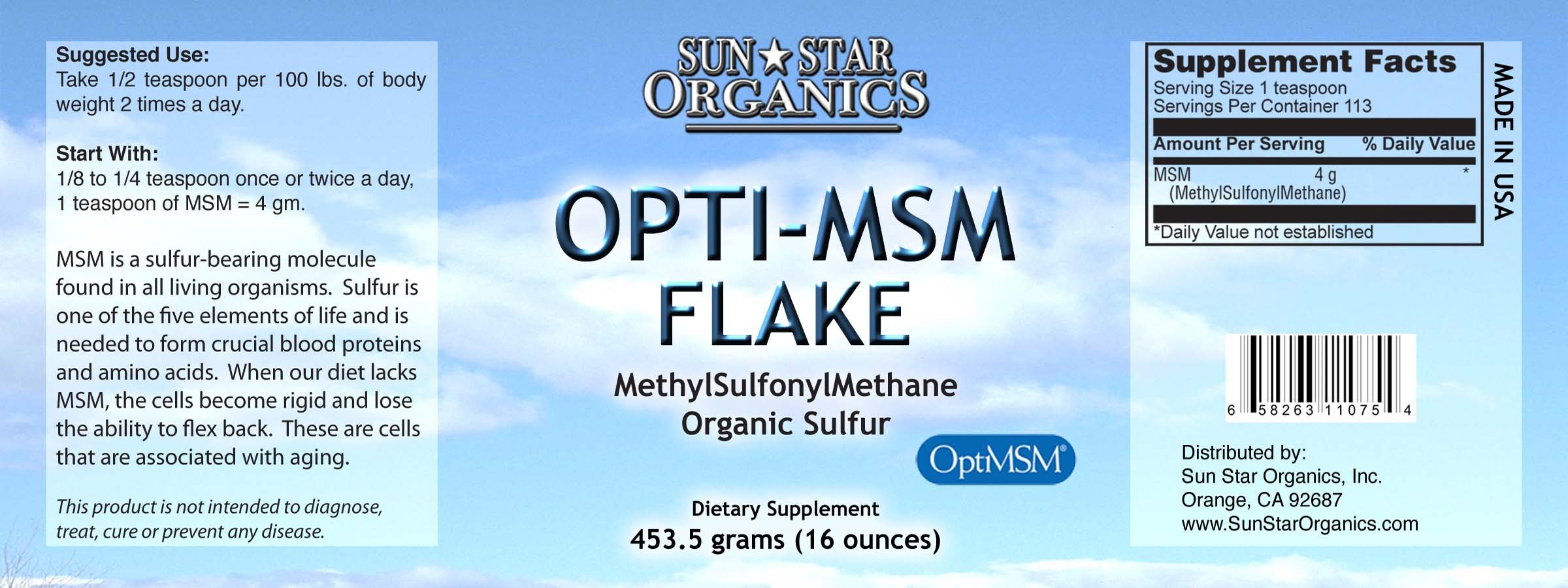 Sun Star Organics OptiMSM (Methylsulfonylmethane) Flake Powder 1 Lb. Natural Sulfur Supplement. Great for Hair, Skin and Nails. Relief for joint inflammation