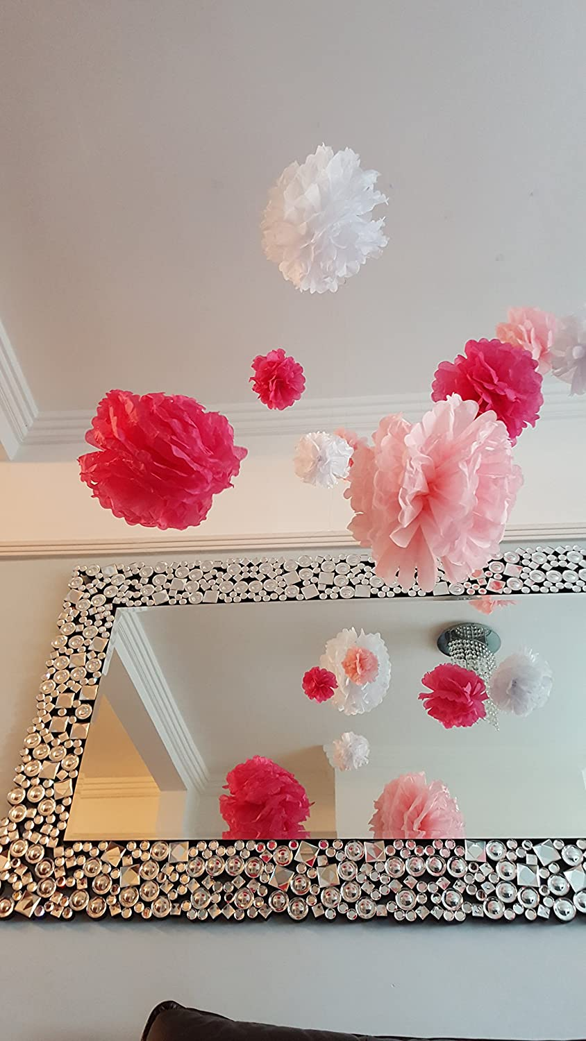 All the Small Things 1 or 10 Tissue Paper Flower Pom Poms Wedding Party Christmas Decoration 3 sizes (Baby Blue, 6