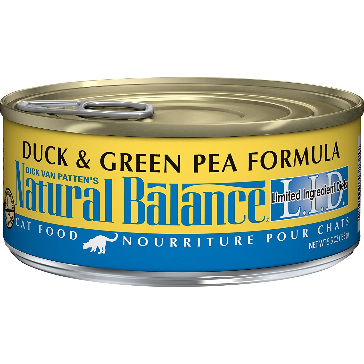 5.5-Ounce Natural Balance L.I.D. Limited Ingredient Diets Wet Cat Food, Duck & Green Pea Formula, 5.5-Ounce Can (Pack of 24)