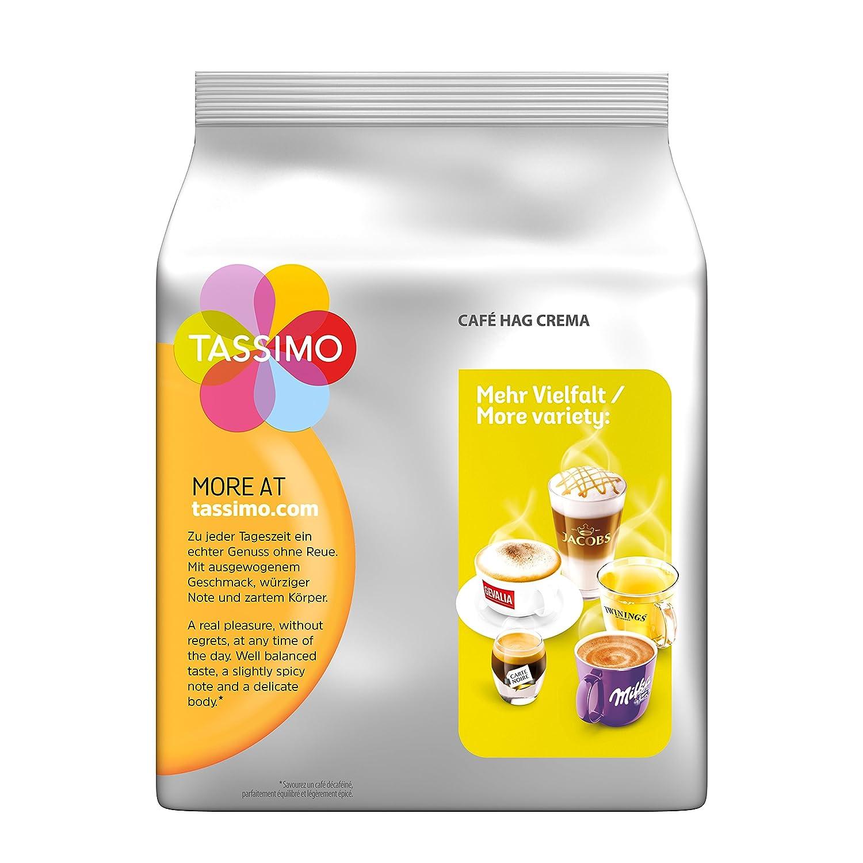 Tassimo Cápsulas de Café HAG Crema Descafeinado, Café descafeinado Molido de Tueste Natural, Certificado Rainforest Alliance, 5 x 16 T-Discs: Amazon.es: ...
