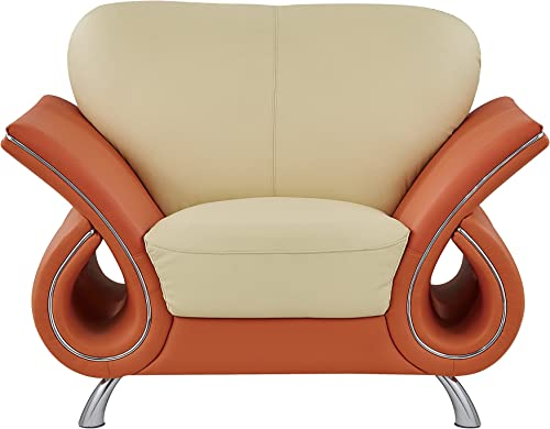 Global Furniture Clark Collection Leather Matching Chair, Beige Orange