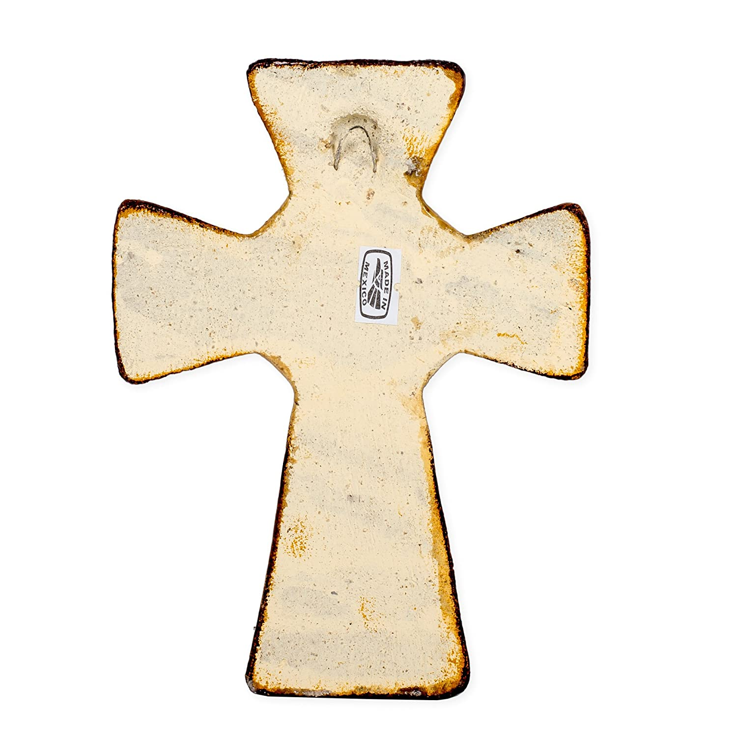 Jesus Christ Image 7 x 5 Inch Handcrafted Clay Cross