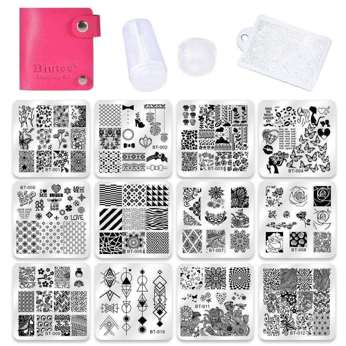 Biutee Set de Stamping Nail Art 12 Pcs Plantilla de Estampado de ...