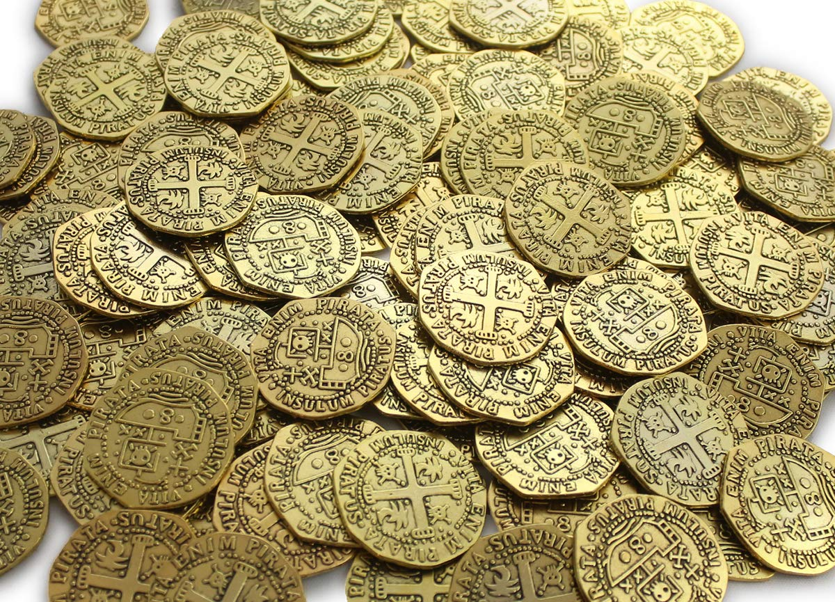 64 Metal Pirate Gold Coins Treasure Large 32mm Replica Doubloon Toys for Kids Pirate Party Game Decoration Token Supplies by Well Pack Box