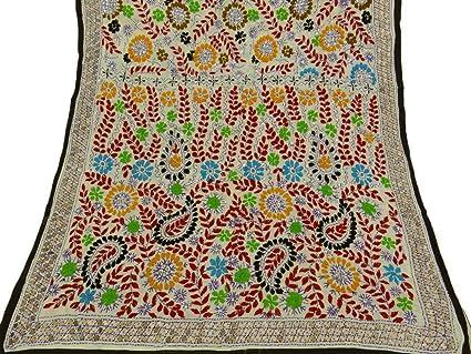Indian vintage phulkari dupatta long scarf embroidered fabric white