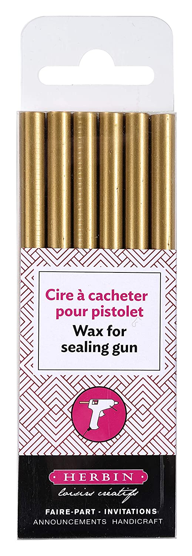 image regarding Crucible Candle Printable known as Herbin Wax Gun Sticks, Gold, 6 Sticks