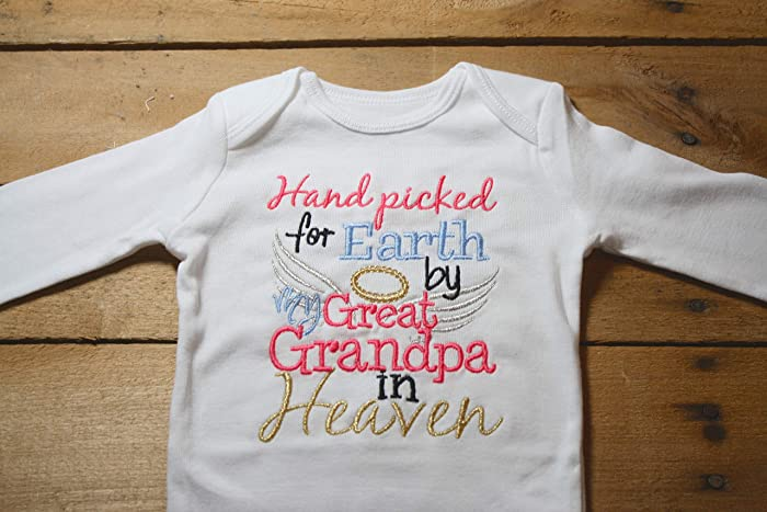 f0f1382b5 Amazon.com: Embroidered Bodysuit Handpicked for Earth by my Great Grandpa  in Heaven Baby Shower Gift Pink Hand Picked Bodysuit Blue My: Handmade