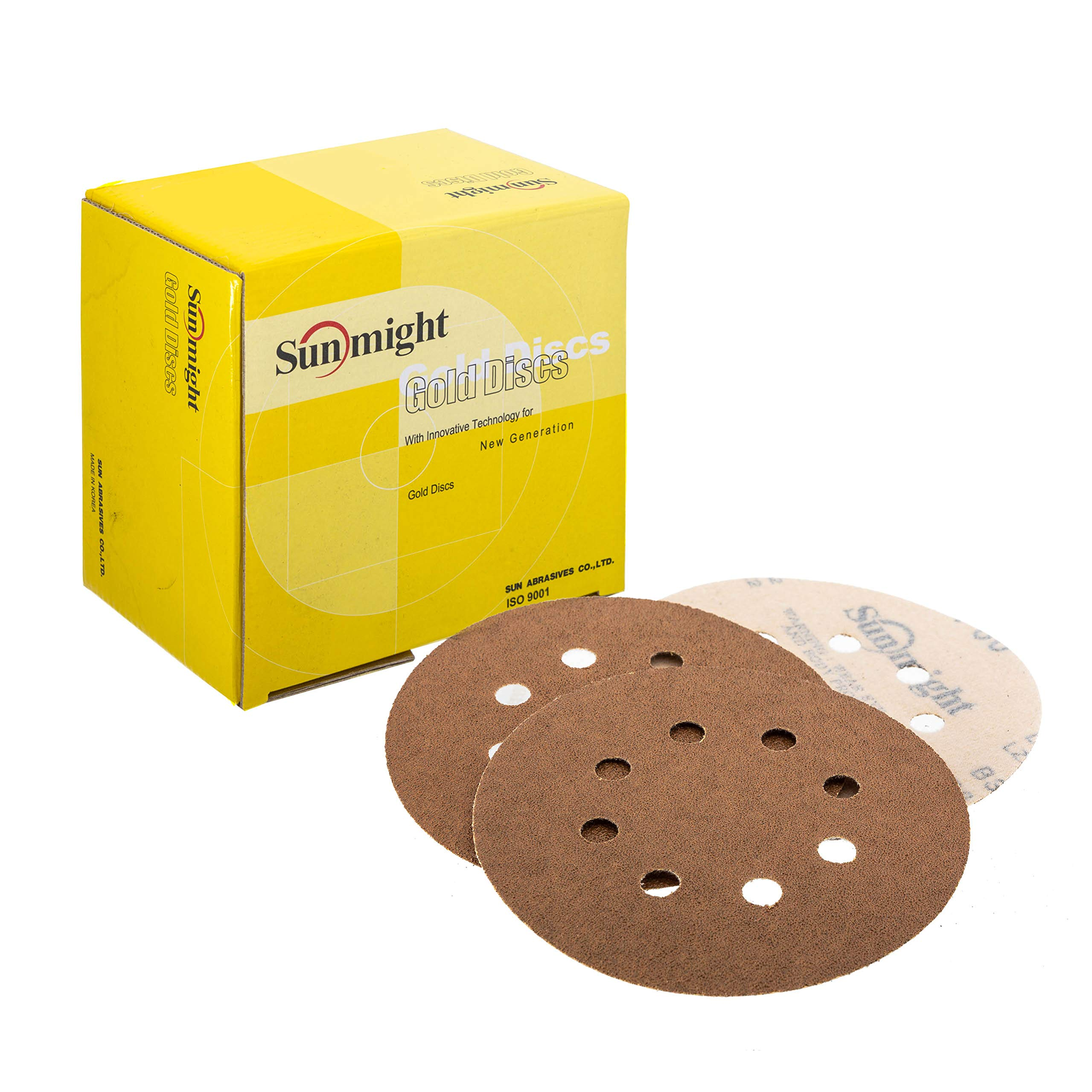Sunmight 58106 1 Pack Velcro Disc Grit (Gold - 5'' 8 Hole 80) by Sunmight
