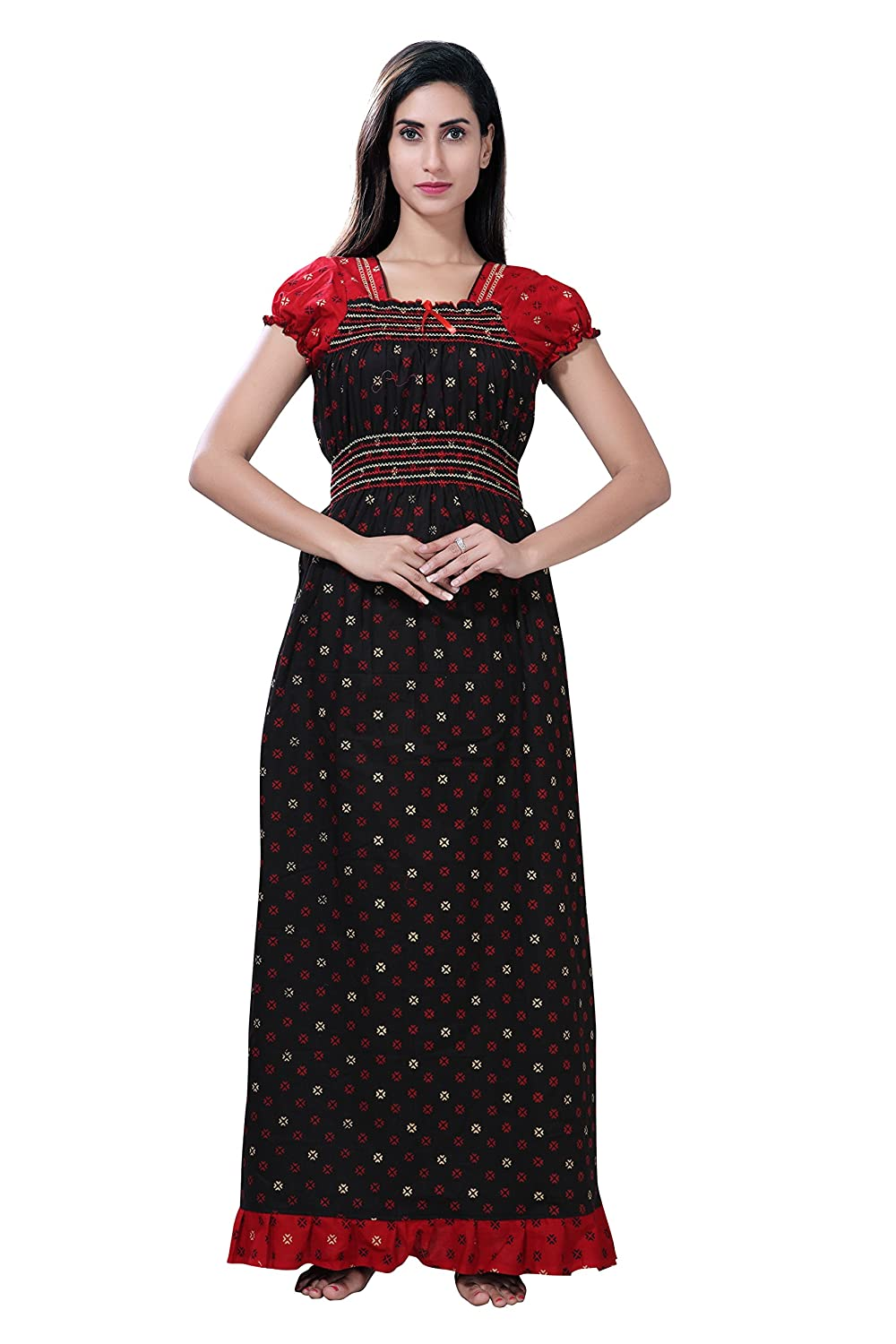 c8ee81d4e0 TUCUTE Women s Cotton Smoking Black   Red Rounds Printed Nighty Nightgown Nightdress Nightwear  (Black) 1678  Amazon.in  Clothing   Accessories
