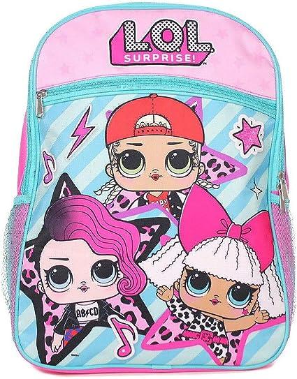 """Large One Front Zipper Pocket w// 2 Mesh Side Pockets LOL Surprise 16/"""" Backpack"""