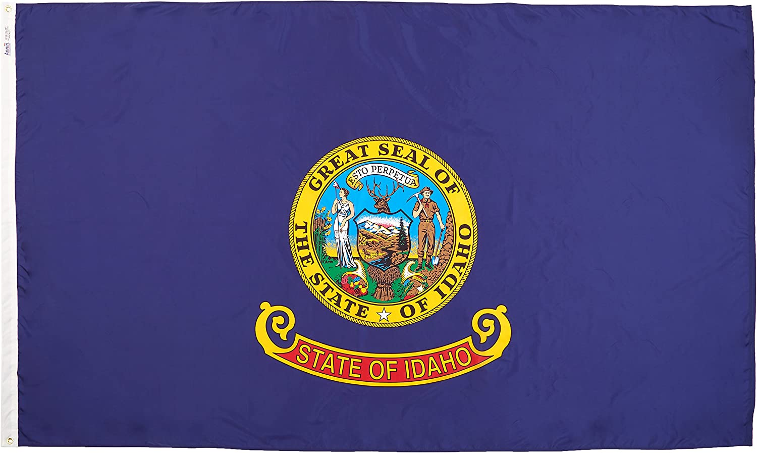 Annin Flagmakers Model 141380 Idaho Flag Nylon SolarGuard NYL-Glo, 5x8 ft, 100% Made in USA to Official State Design Specifications