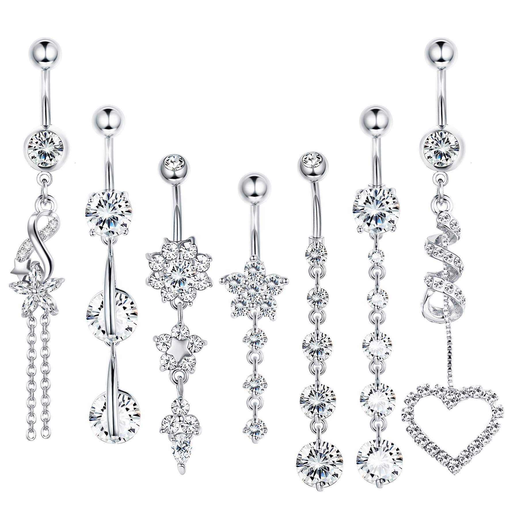 LOLIAS 7 Pcs 14G Dangle Belly Button Rings for Women Girls 316L Surgical Steel Curved Navel Barbell Body Jewelry Piercing,S by LOLIAS