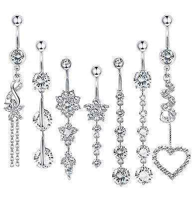 Amazon.com: LOLIAS 7 piezas 14G Piercing de ombligo para ...