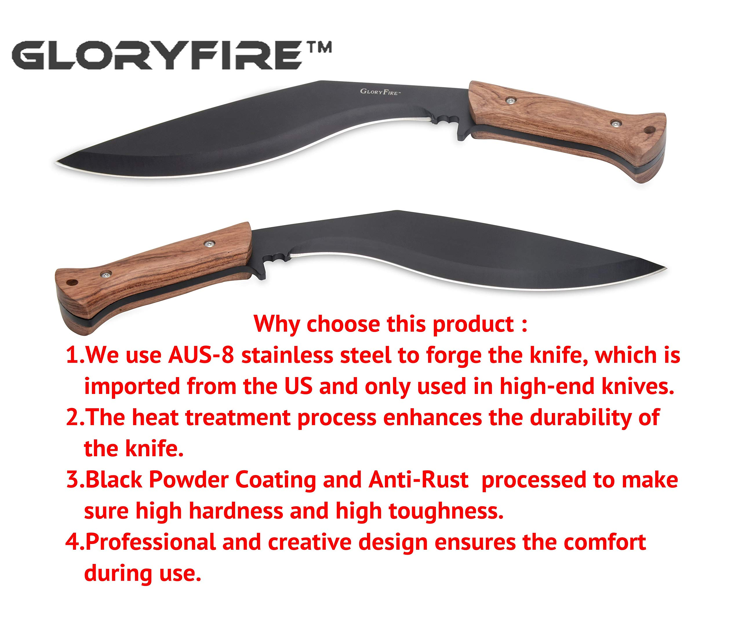 GLORYFIRE Kukri Knife AUS-8 Stainless Anti-Rust Processed Arc Hand Protected Design Fixed Blade Full Tang with Nylon Sheath Tactical Kukri Knife (Wooden Handle) by GLORYFIRE (Image #2)