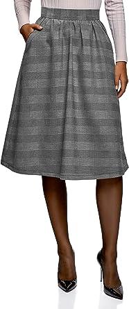 oodji Ultra Mujer Falda de Silueta en A con Bolsillos, Gris, ES 38 / S ...
