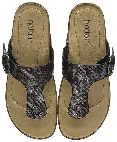 c9e5ff5912 Hotter Women's Resort Flip Flops, Black (Carbon Metallic 202), 3 (36