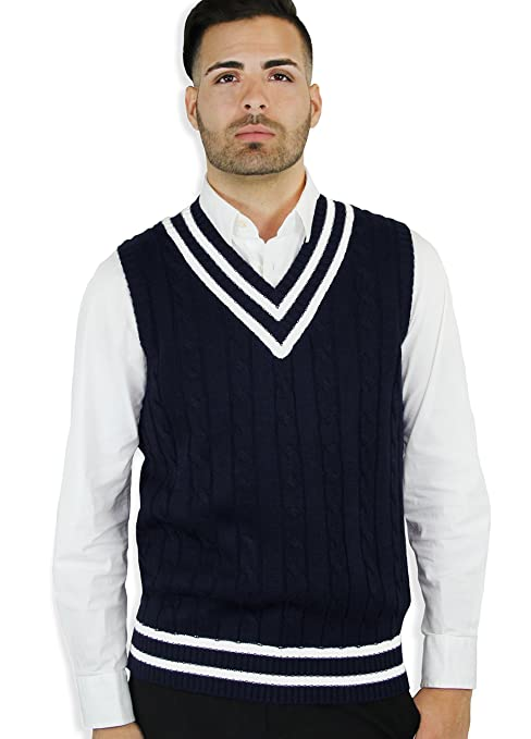 Men's Vintage Style Sweaters – 1920s to 1960s Blue Ocean Cable Sweater Vest  AT vintagedancer.com