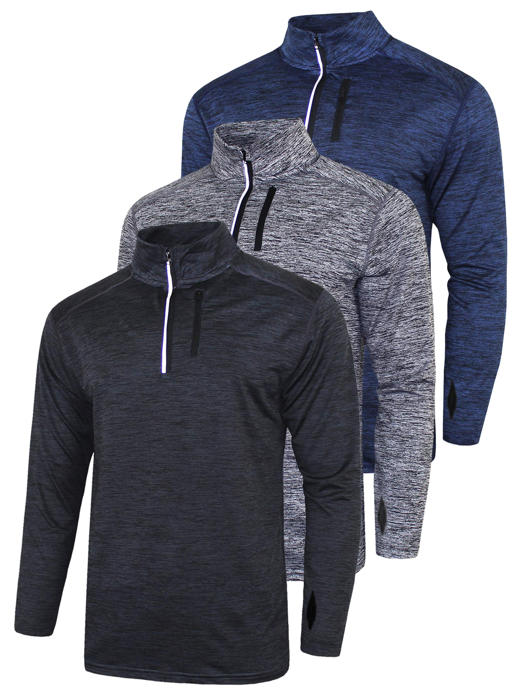 3 Pack Men's Long Sleeve Active Quarter Zip Quick Dry Pullover - Athletic Running Cycling Gym Top Shirts Bulk Bundle (Edition 1, XX-Large) by Liberty Imports