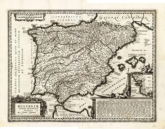Mapa antiguo de edad ThePrintsCollector España-Hondius-Janssonius-1633: Amazon.es: Hogar