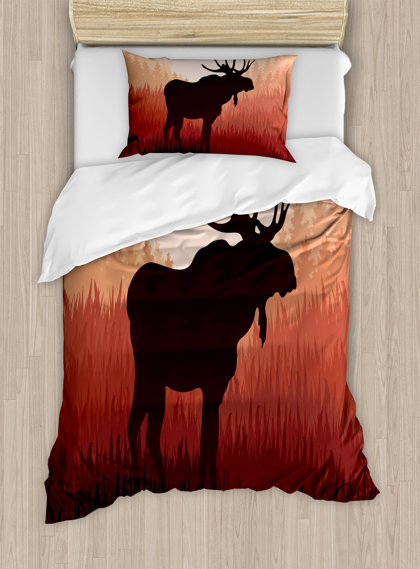 Ambesonne Moose Duvet Cover Set Twin Size, Antlers in Wild Alaska Forest Rusty Abstract Landscape Design Deer Theme Woods, Decorative 2 Piece Bedding Set with 1 Pillow Sham, Peach and Brown
