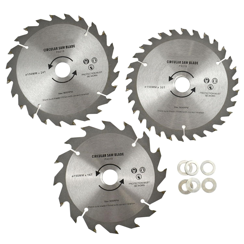 3pc 150mm TCT Hojas de sierra circular 16//24//30 TPI /& Adaptador reductor anillos TE866
