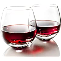 MOFADO Crystal Stemless Wine Glasses - Classic Elegance - Hand Blown Crystal - 15oz (Set of 2) - For Red and White Wine…
