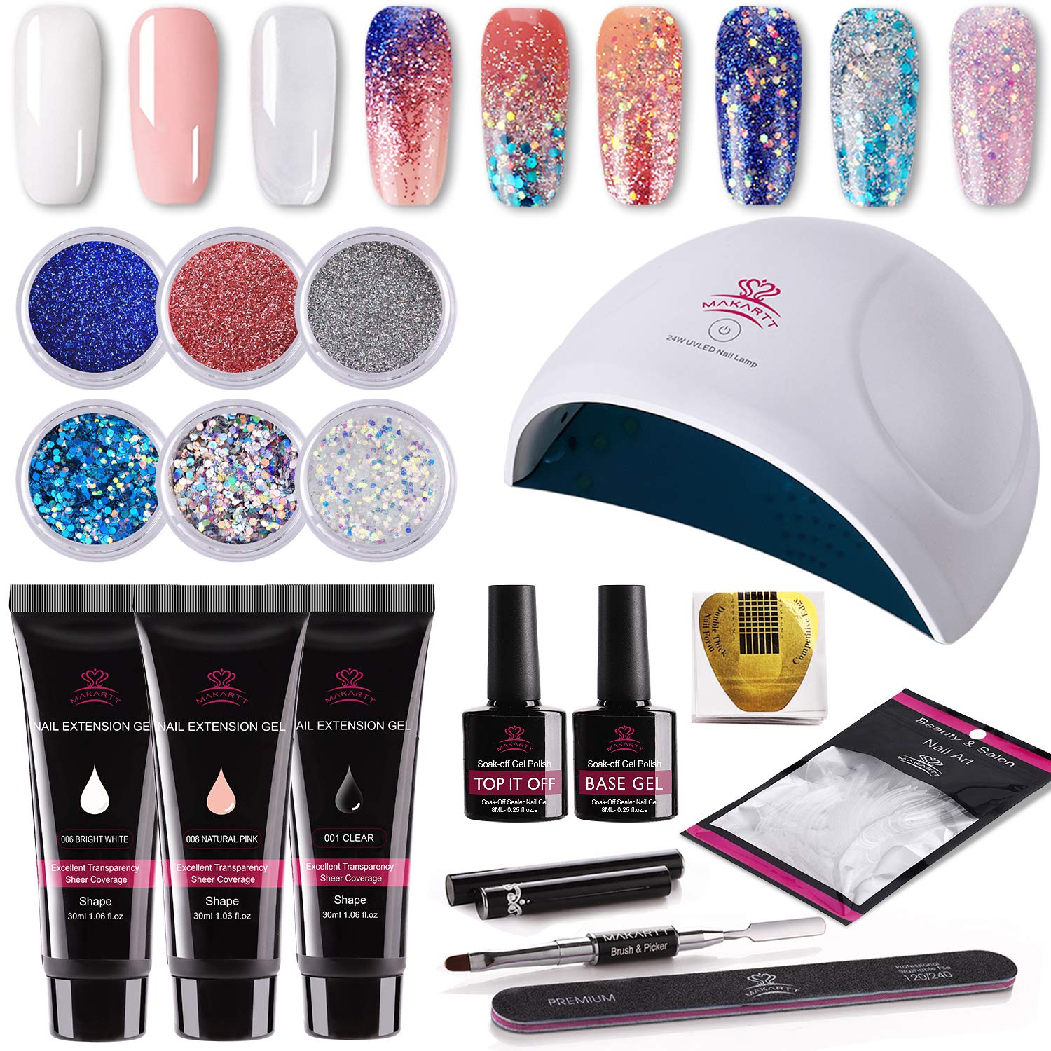Makartt P-09 Gorgeous Poly Nail Gel Kit with 24w UV Light Starter Kit Professional Misty White Pink Extension Gel, 6pcs Glitter Powders All-In-One Dip Nail Gel Builder Manicure by Makartt