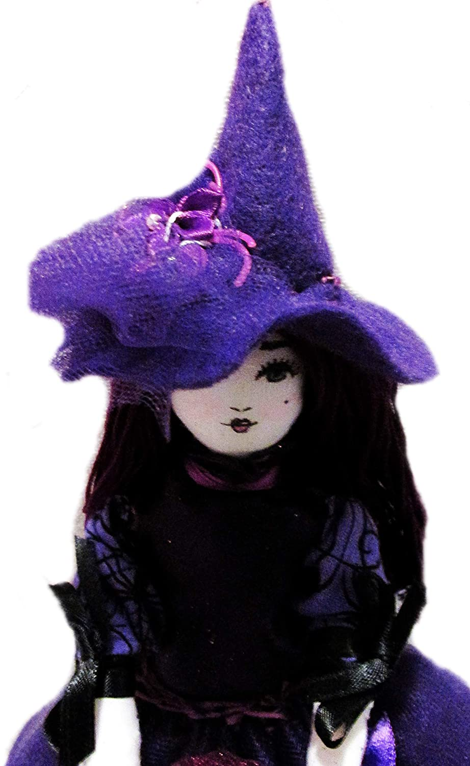 Shabby Chic Purple Halloween Witch Doll Decorative Ornament