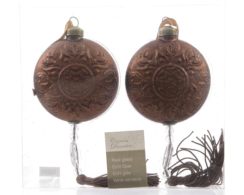 /Ø 8 cm Marrone con Nappe Piatte 2 Palle di Natale in Vetro Decorazione per Albero di Natale