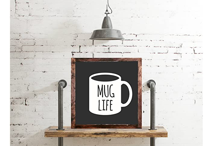 mug life wood sign home decor rustic distressed coffee lovers sign gift wall coffee bar decor - Distressed Cafe Decor