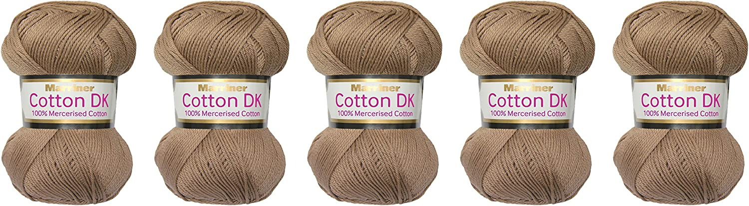 brown COTTON DOUBLE KNITTING WOOL YARN 5 x 100g see description