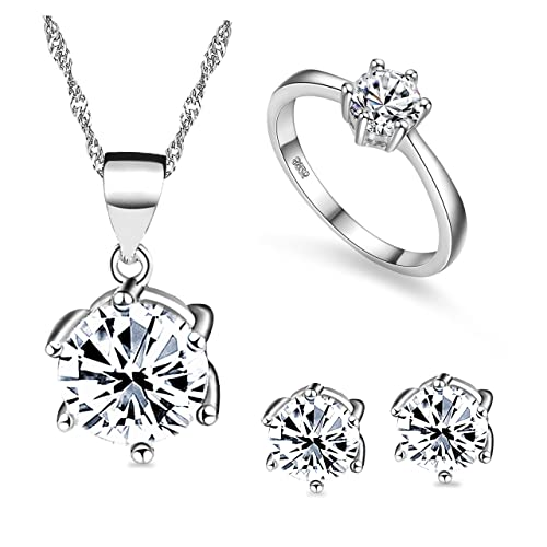 Uloveido Fashion Bridal Jewelry Set Pendant Necklace Ring and Earrings for  Women with Cubic Zirconia T043 fb33d3fabcbd