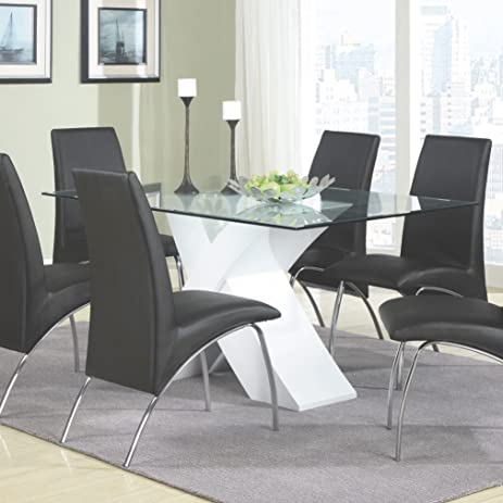 coaster home furnishings 120821 contemporary glass top dining table white - Glass Top Dining Room Tables