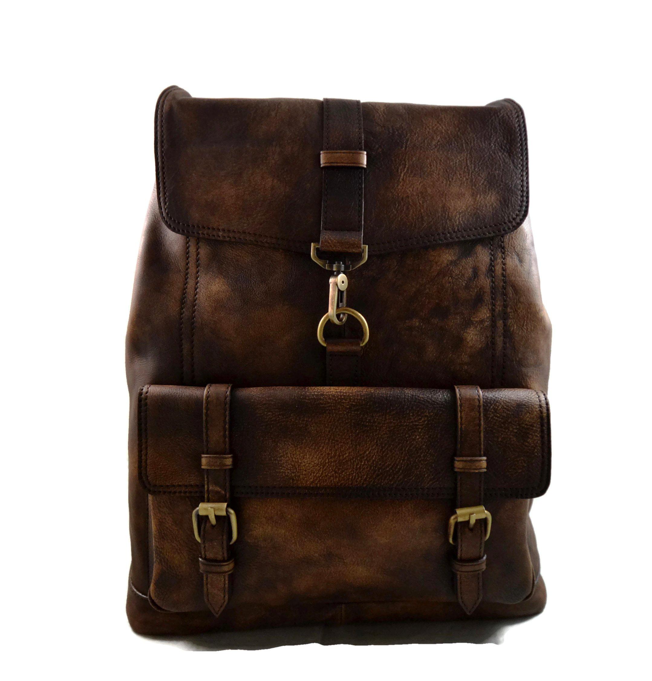 Vintage leather backpack genuine washed leather travel bag weekender sports bag gym bag leather shoulder ladies mens dark brown backpack