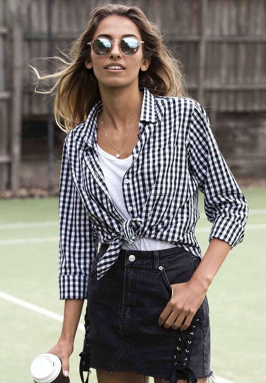 CAMIXA Gingham t-shirt för kvinnor rutig ledig långärmad knapp ner pläd topp svart
