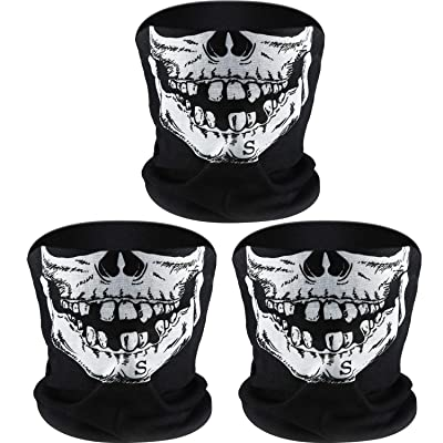 Tatuo 3 Pack Skull Face Mask Half Sun Dust Protection Tube Mask Durable Bandana Skeleton Motorcycle Fishing Hunting Cycling Riding Festival Neck Gaiter: Sports & Outdoors