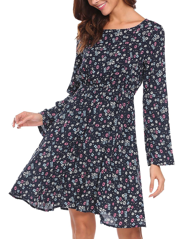 bluee SE MIU Women's Long Sleeve Floral Flowy Print Flared ALine Party Swing Dress