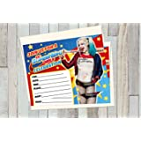 12 HARLEY QUINN SUICIDE SQUAD Birthday Invitations 5x7in Cards Matching White Envelopes