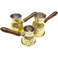 ARTC Engraved Turkish Arabic coffee warmer pot 3 pieces set Without lid - Gold