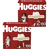 Baby Diapers Size 1, 198 Ct & Diapers Size 2, 180 Ct, Huggies Little Snugglers
