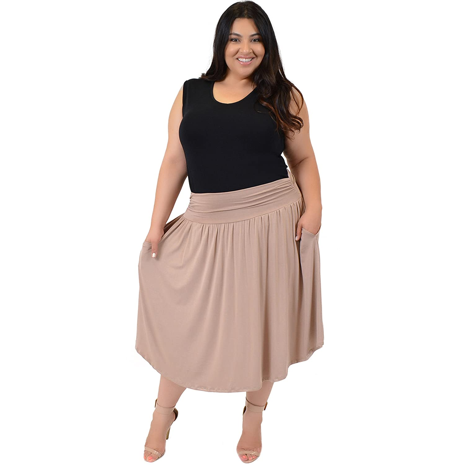 efc0372e52d56 Stretch is Comfort Women s Pocket Skirt at Amazon Women s Clothing store