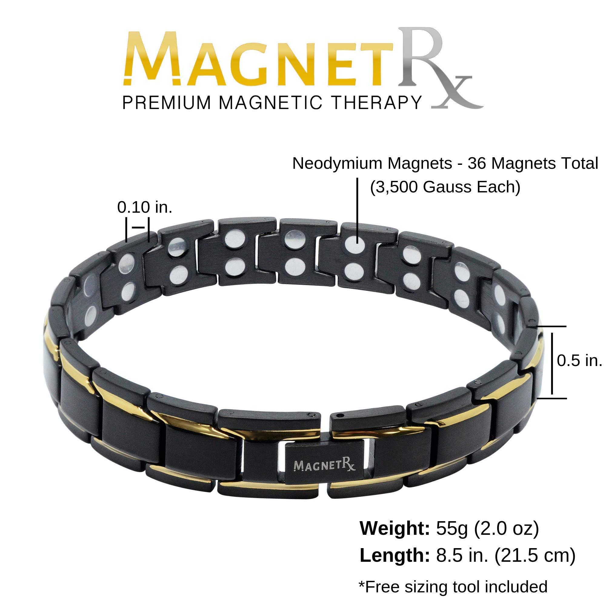 MagnetRX Ultra Strength Magnetic Therapy Bracelet Double Magnet Pain Relief for Arthritis and Carpal Tunnel by MagnetRX (Image #3)