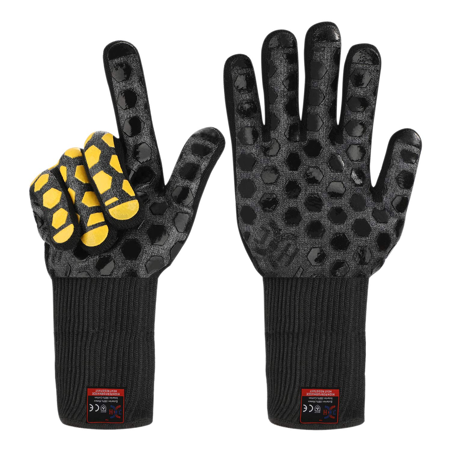 JH Heat Resistant Oven Glove:EN407 Certified 932 °F, 2 Layers Silicone Coating, Black Shell with Black/yellow Coating, Oven Mitts For Cooking, Kitchen, Fireplace, Grilling, 1 Pair, Extended Long Cuff