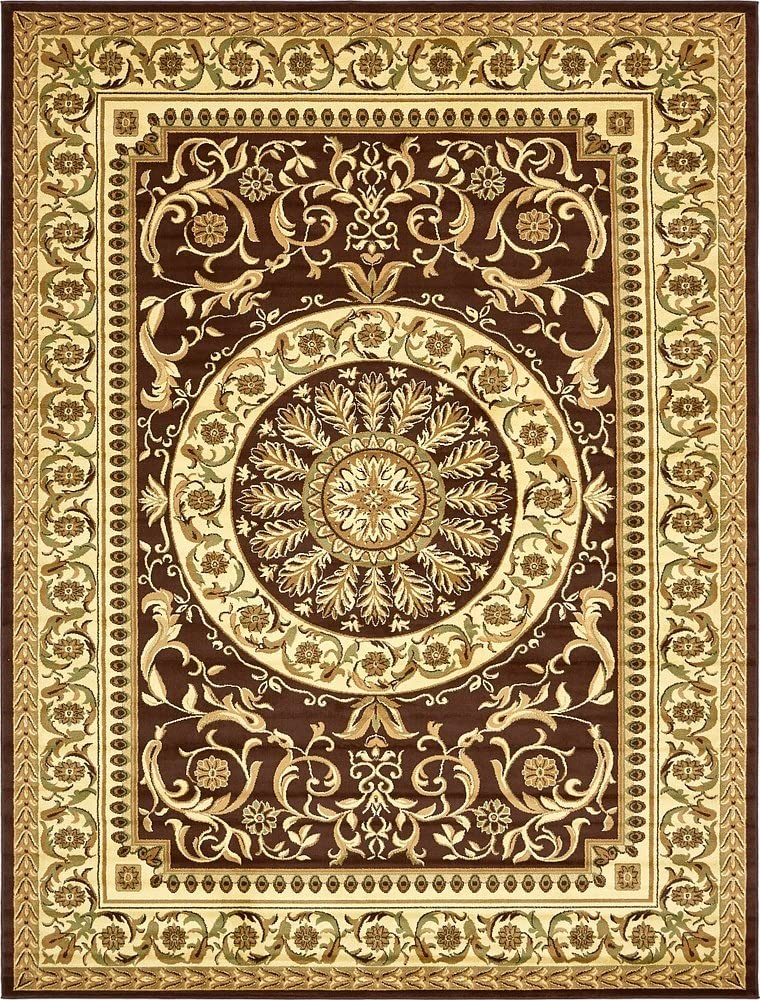 Amazon Com Unique Loom Versailles Collection Traditional Classic Brown Area Rug 10 0 X 13 0 Furniture Decor