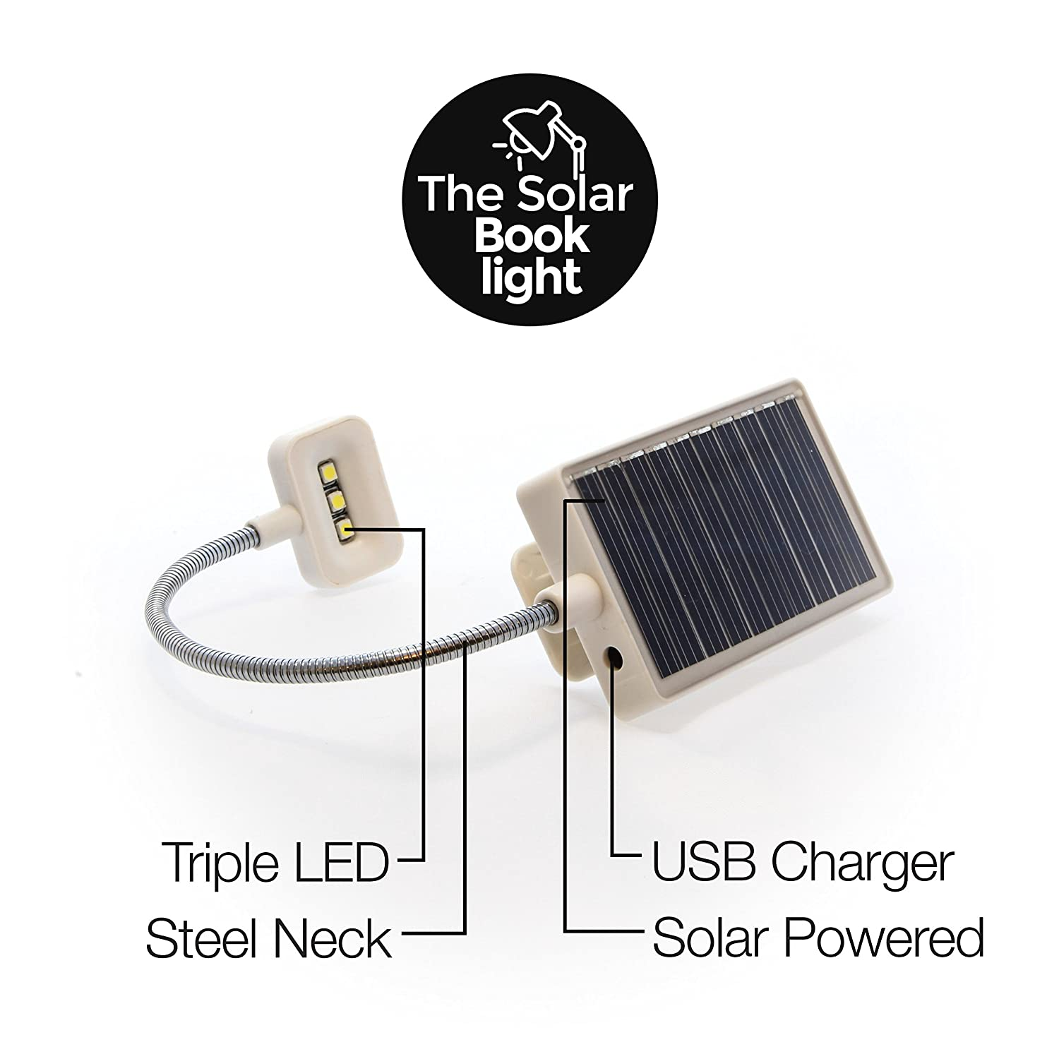 led solar book light soft clip for reading crochet