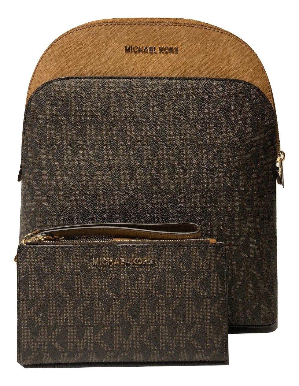 MICHAEL Michael Kors Emmy Large Backpack bundled with Michael Kors Jet Set Travel Double Zip Wallet Wristlet (Signature Brown/Acorn)
