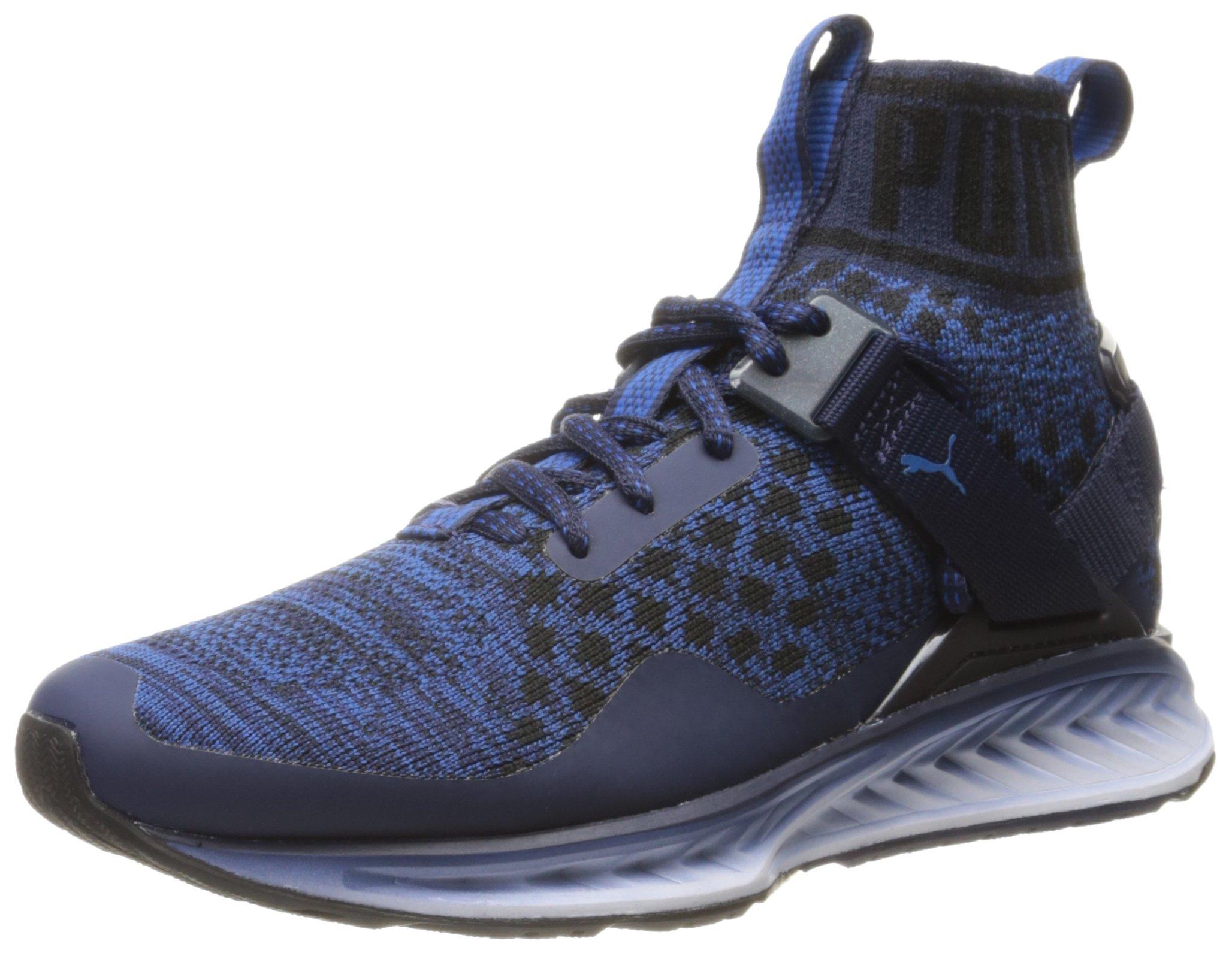 PUMA Men's Ignite Evoknit Fade Cross-Trainer Shoe, Peacoat Black/True Blue, 6 M US