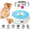 Automatic Electronic Cat Toy with Interactive Moving Feather + Free Replacement Feather + Handheld Chase toy| Fun Toy for Older Pets and Kittens | LED Night Mode | Best Gift for Cats and Pet Owners