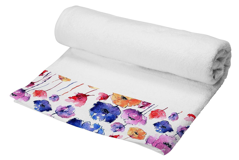 Telo in Spugna con Balza Applicata Stampata in Digitale, Multicolore Foglia Datex Trade