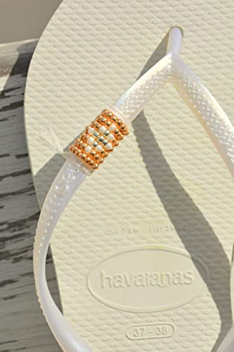 b095975f250323 Image Unavailable. Image not available for. Color  White Wedding Flip Flops